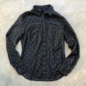 LOFT Heart Print Button Down Shirt Blouse XXS P
